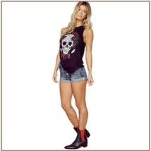 Sleeveless Black Skull & Roses Backless Vintage Dead Rock Band Tee Shirt image 2