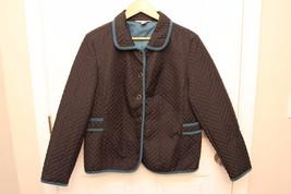 Christopher & Banks Black/Teal Quilted Jacket Lightweight Coat  Size L - $14.82