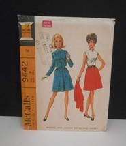New/Vintage 1968~McCall's #9442~Sz 11~Sleeveless Dress & Cropped Jacket Pattern - $8.95