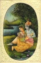 Krishna Radha Relationship Painting Handmade Hindu Deity Miniature Drawi... - $144.99