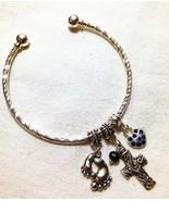 Inspirational Footprint Cuff Charm Bracelet  - $18.99