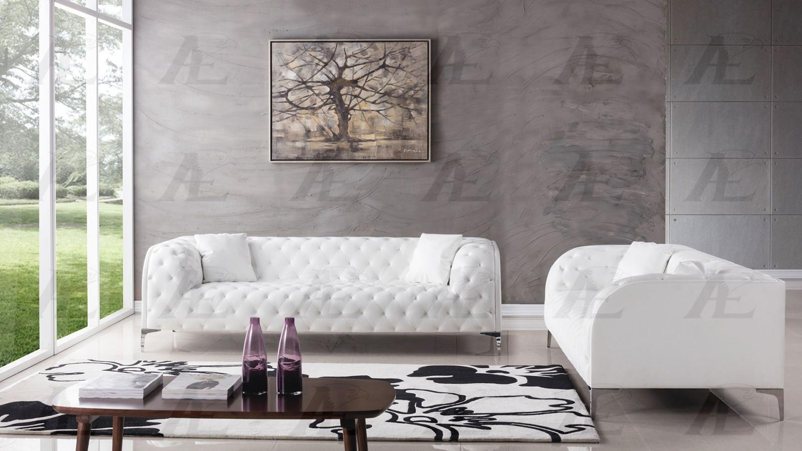 American Eagle AE-D822 Modern White Faux Leather Sofa Set in 2pcs