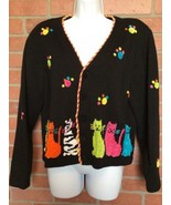Jack B Quick Womens Sweater L Cats Paw Prints Embroidered (MM1) - $19.79
