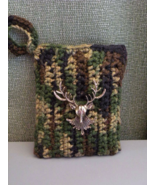 Hand Crochet Camo Bag Pouch with Metal Deer Hea... - $17.00