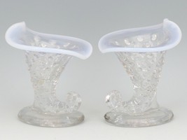 Vintage Fenton Art Glass French Opalescent Hobnail Miniature Cornucopia Vase Set