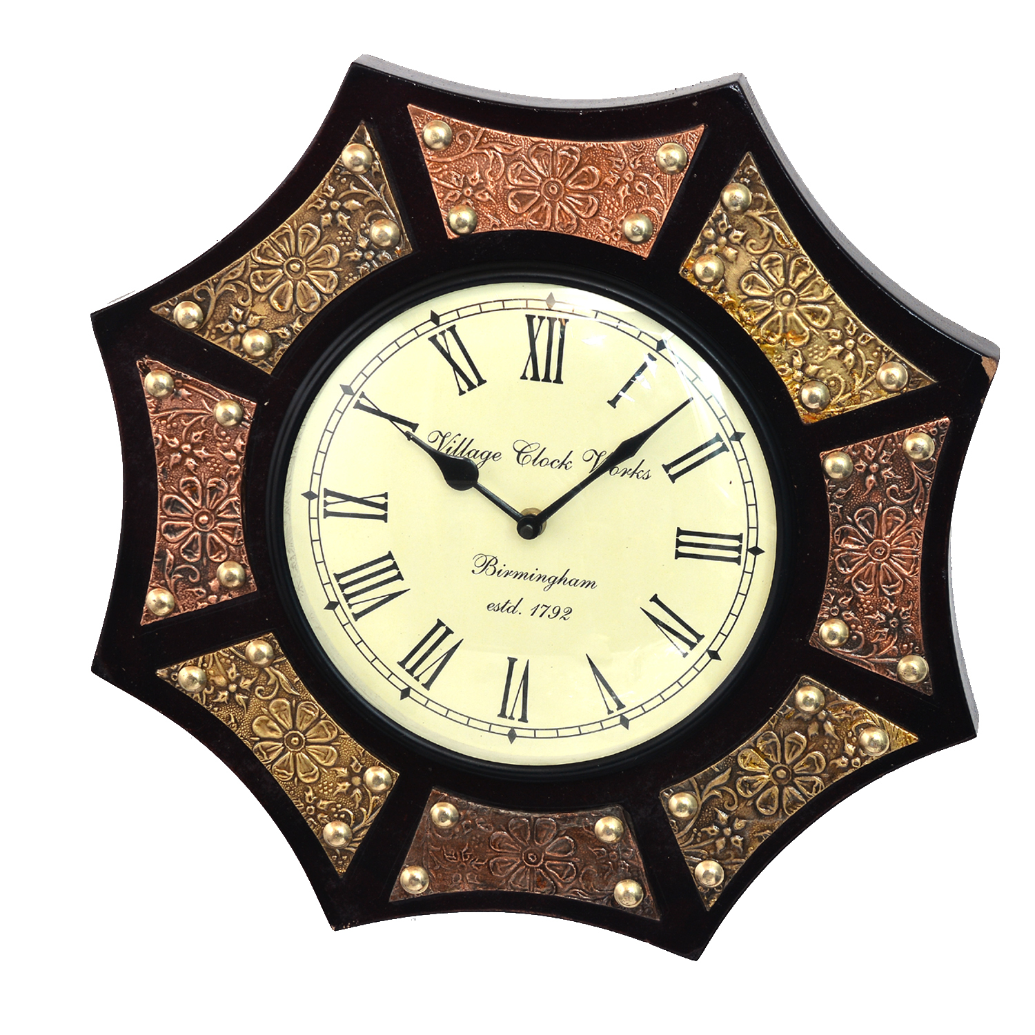 "14"" Antique Brass FTD Decorative Wall Clock Wooden Wall Clock/Vintage Wall Clock"