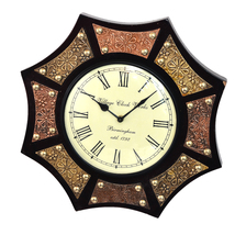 "14"" Antique Brass FTD Decorative Wall Clock Wooden Wall Clock/Vintage Wa... - €85,92 EUR"