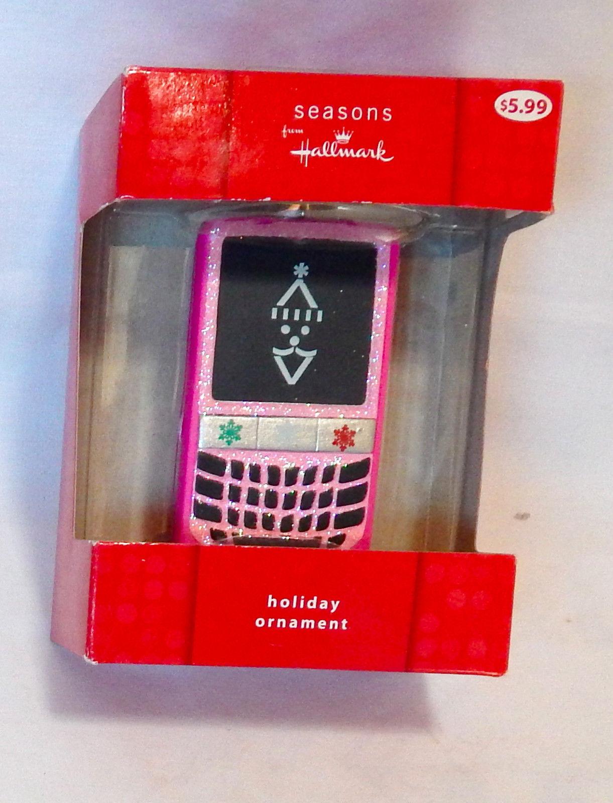"Christmas Hallmark Seasons Cell Phone Ornament 3"" x 2"" Pink 1HCM9613 27S"