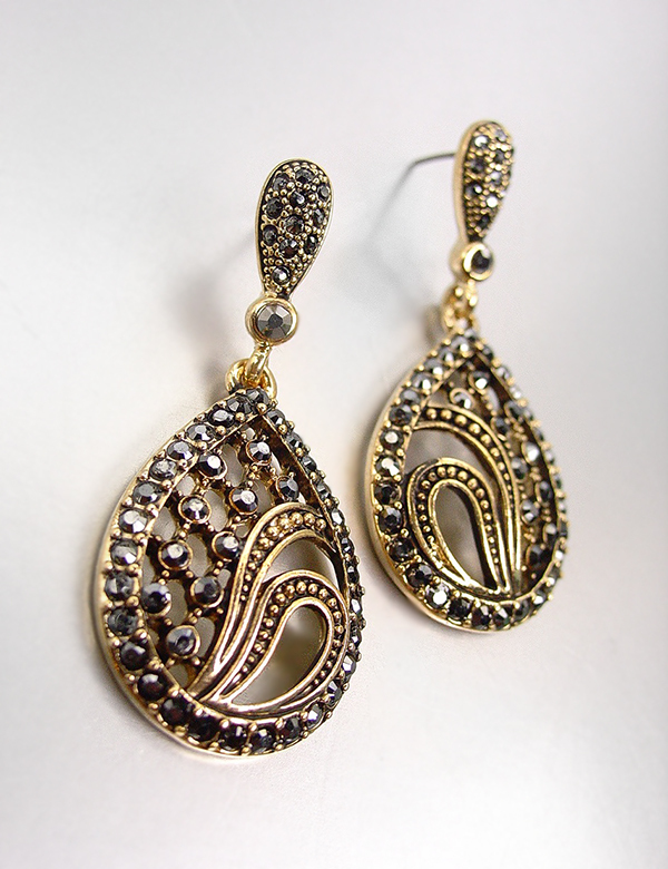 Primary image for VICTORIAN 18kt Gold Plated Marcasite Crystals Chandelier Dangle Earrings 3120