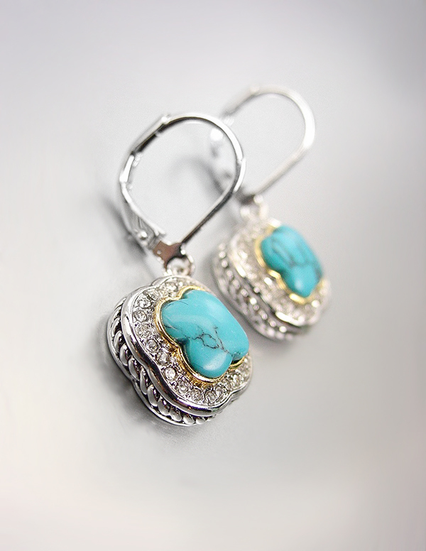 Primary image for CLASSIC Designer Blue Turquoise CZ Crystals Clover Petite Dainty Dangle Earrings