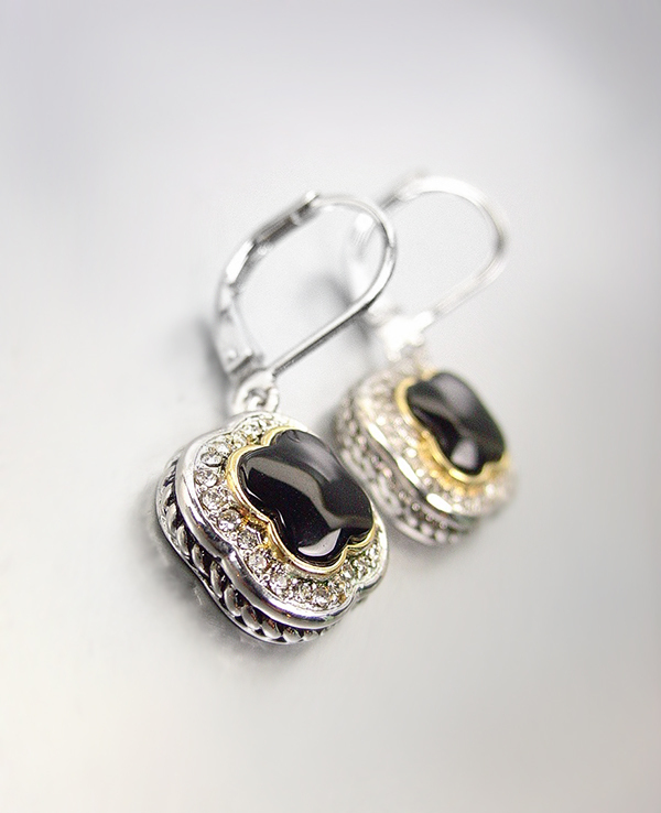 Primary image for CLASSIC Designer Black Onyx CZ Crystals Clover Petite Dainty Dangle Earrings