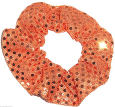 Orange Sequin Dots Hair Scrunchie Scrunchies by Sherry Confetti Dot - $6.99
