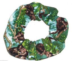 Monkeys in Trees Hair Scrunchie Scrunchies by Sherry Ponytail Holder Blue Cotton - $6.99
