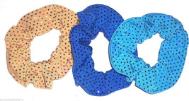 Gold Blue Turquoise Sequin Spandex Hair Scrunchies by Sherry Lot of 3 - $24.95