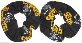 Pittsburgh Steelers Black Fabric Mini Hair Scrunchies by Sherry Lot of 2 - $7.99