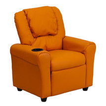 Flash Contemporary Orange Vinyl Kids Recliner with Cup Holder and Headrest - $125.99