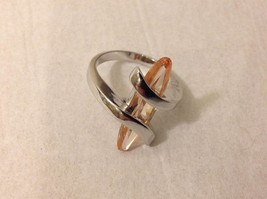 NEW Silver Toned Ring With Large Oblong Crystal Peach Colored Crystal Size 7
