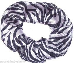 Zebra Black White Simply Silky Hair Scrunchie Scrunchies by Sherry  - $6.99