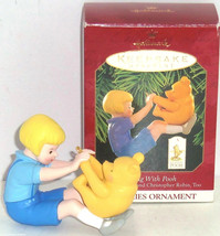 Disney Winnie Pooh Christopher Robin Hallmark Ornament Playing 1999 Vintage MIB - $34.95