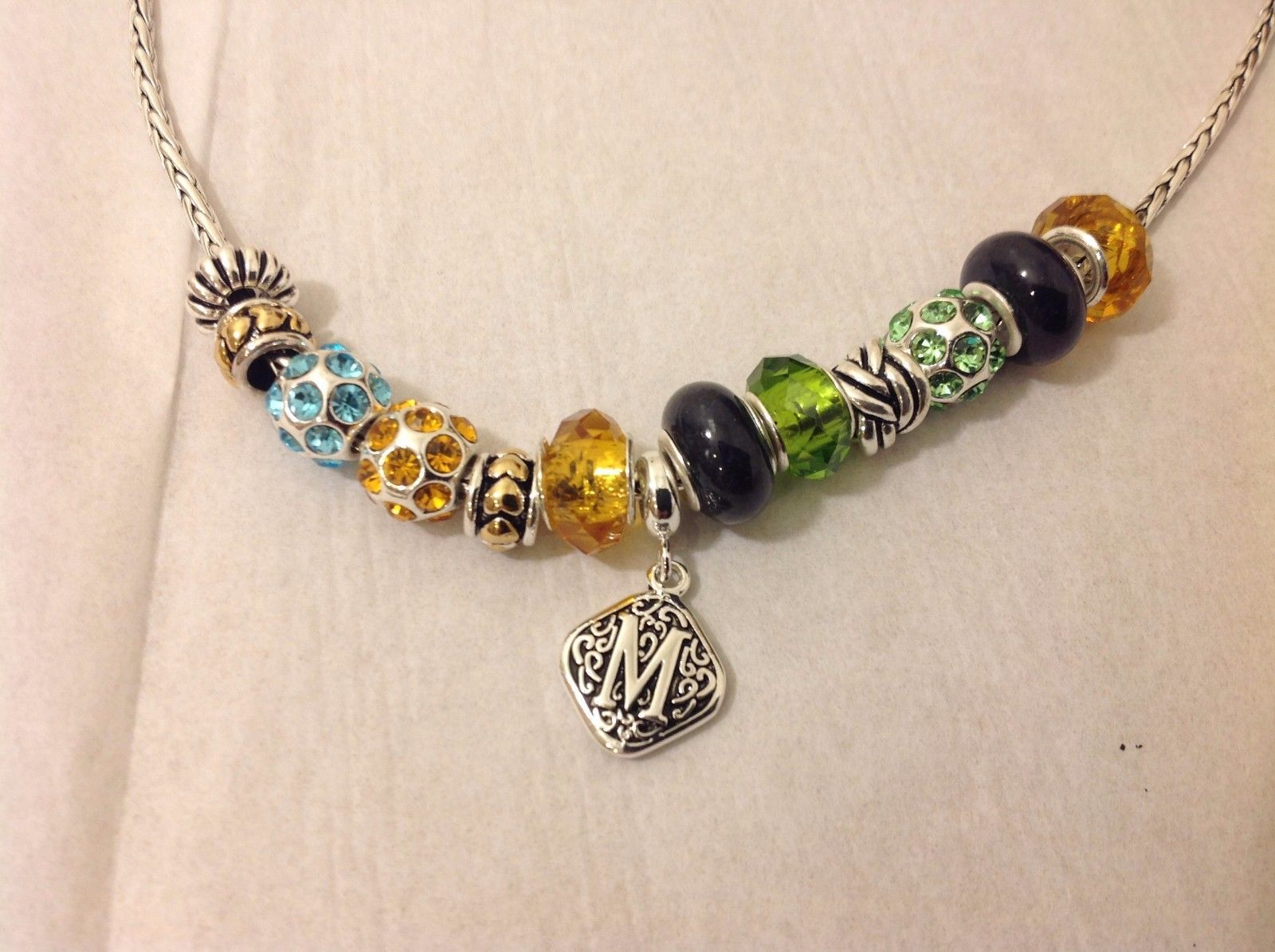 NEW Silver Toned Beaded Necklace Crystal Elements Monogrammed M Woven Pattern