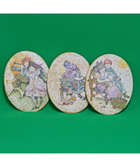 Vintage Set Of Three Oval Ceramic Wall Hanging Paintings, Young Boy And ... - $5.95