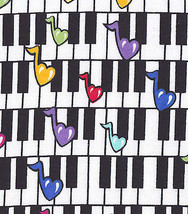 Piano Keys and Musical Notes on Cotton Flannel ... - $6.49