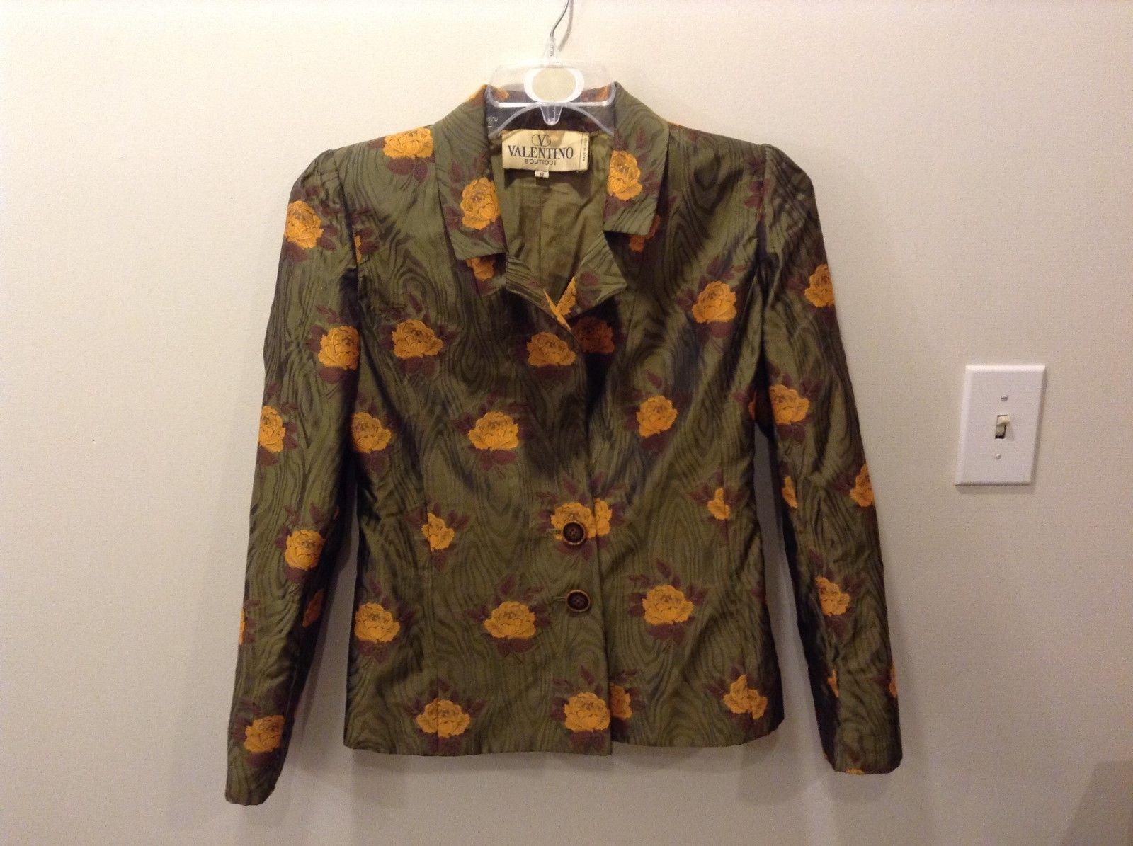 VALENTINO Boutique Olive Green Vintage Floral Blazer/Jacket Size 8