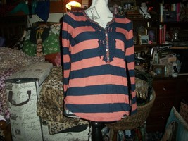 Anthropologie Postmark Adorable Navy Blue+Rust Blouse Size S - $13.86