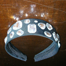black satin headband retro big large wide diamond rhinestones nwot - €8,78 EUR