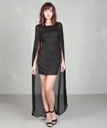 sheer black cape dress size Large medium 6 8 ev... - $29.69