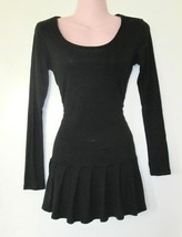 retro long sleeve black low drop waist pleated tunic cotton top shirt si... - $24.74