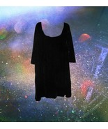 plus size mod black velvet dress 1x extra large... - $29.69