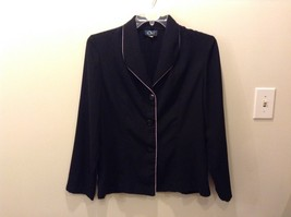 Moving On 100% Polyester Black Button Up Blazer Size 12