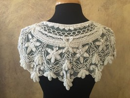 Sequin Beaded Lace Hip Wrap or Collar Shoulder Shrug Shawl Applique White - $38.99