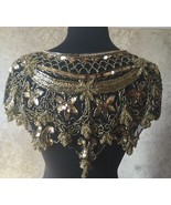 Sequin Beaded Lace Hip Wrap Collar Shoulder Shrug Shawl Applique Gold/Black - $34.99