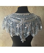 Sequin Beaded Lace Hip Wrap Collar Shoulder Shrug Shawl Applique Silver - $38.99
