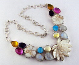 Multi Gemstone Necklace .925  Carved & Clear Na... - $55.00