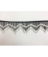 "6"" Black/Silver Glass Seed Bugle Beaded Fringe Chevron Lamp Costume Trim... - $16.99"