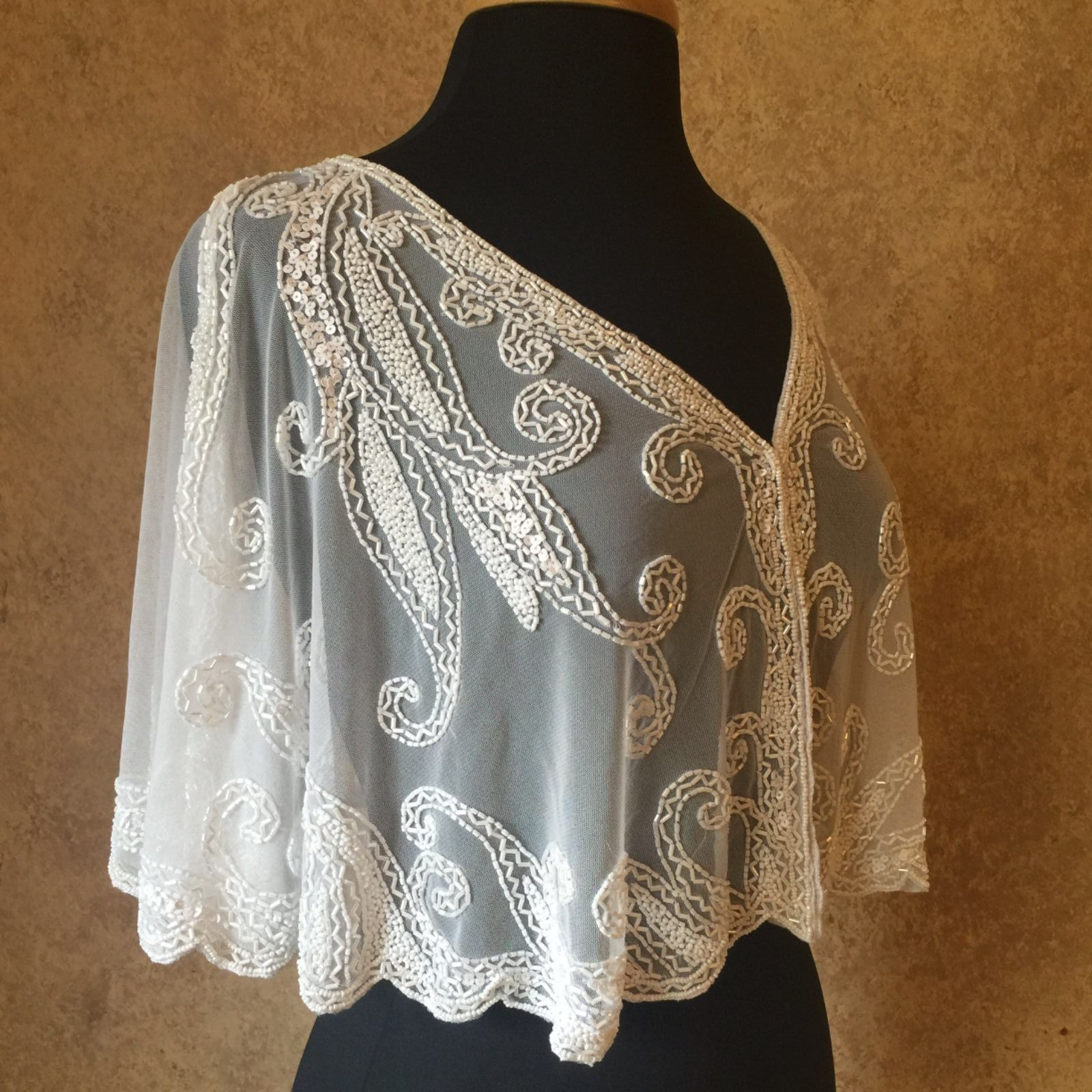 Primary image for Sequin Beaded Bridal Cape Collar Shoulder Shrug Shawl Applique White Chiffon