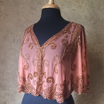 Sequin Beaded Formal Cape Collar Shoulder Shrug Shawl Applique Copper Chiffon - $49.99