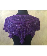 Sequin Beaded Hip Wrap or Collar Shoulder Shrug Shawl Applique Purple - $34.99