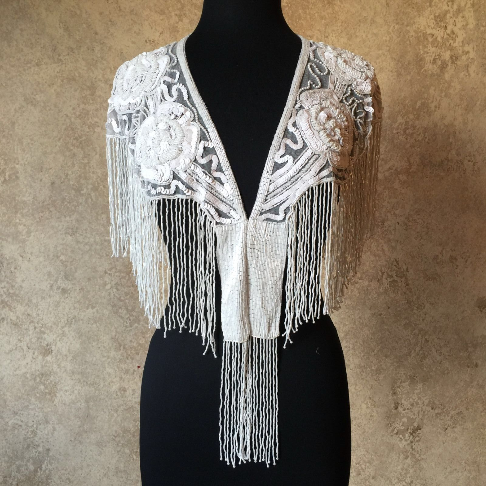 Primary image for Sequin Beaded Lace Collar Shoulder Shrug Shawl Applique White Wedding Bridal