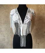 Sequin Beaded Lace Collar Shoulder Shrug Shawl Applique White Wedding Br... - $49.99