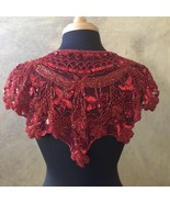 Sequin Beaded Lace Hip Wrap Collar Shoulder Shrug Shawl Applique Red - $34.99