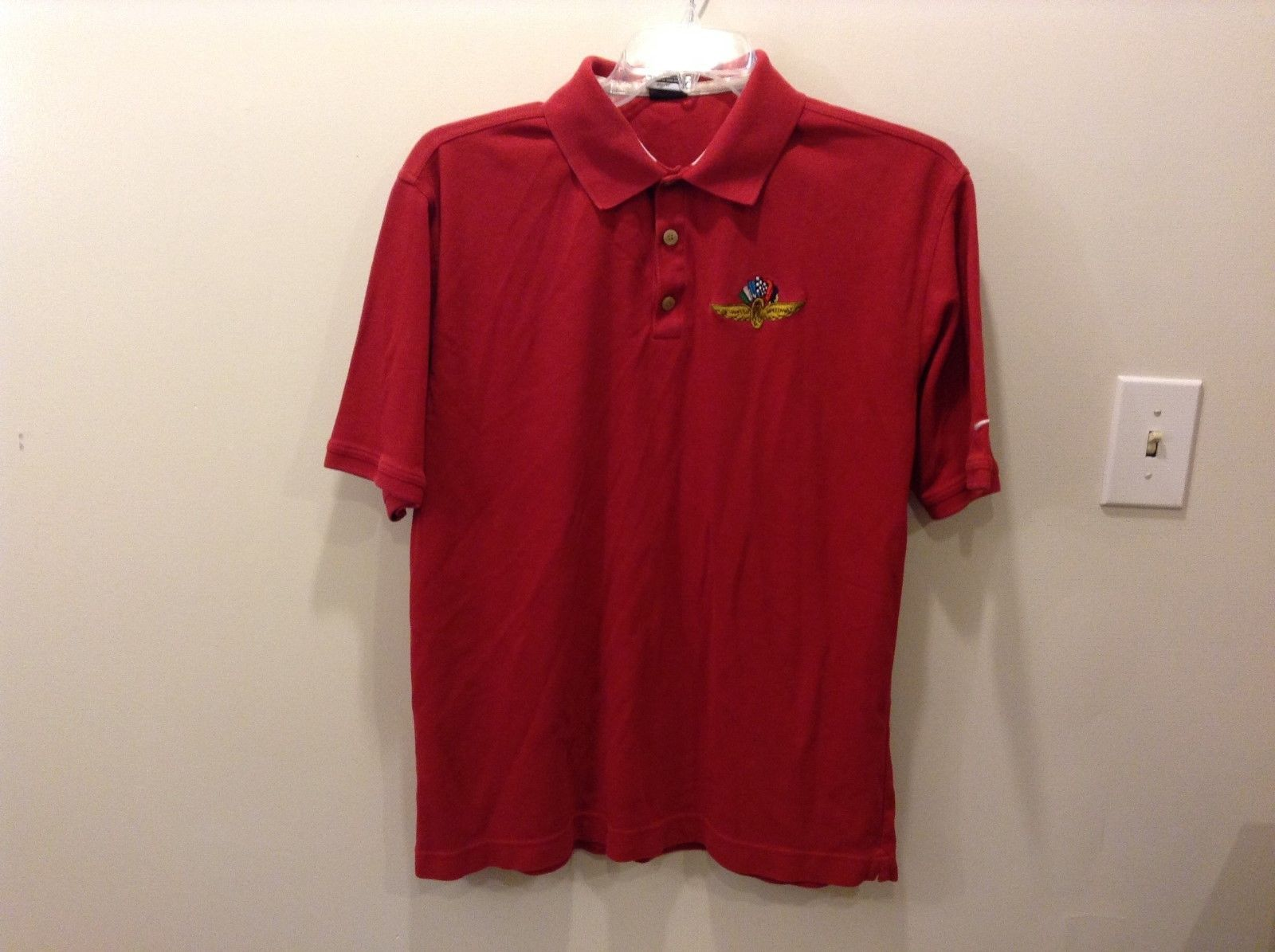 NIKE Dry-Fit Indianapolis Motor Speedway Red Polo T-Shirt Size Large