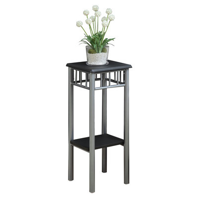Plant stand square 2 tier shelf metal wood flower home decor indoor furniture plant stands - Tiered metal plant stand ...