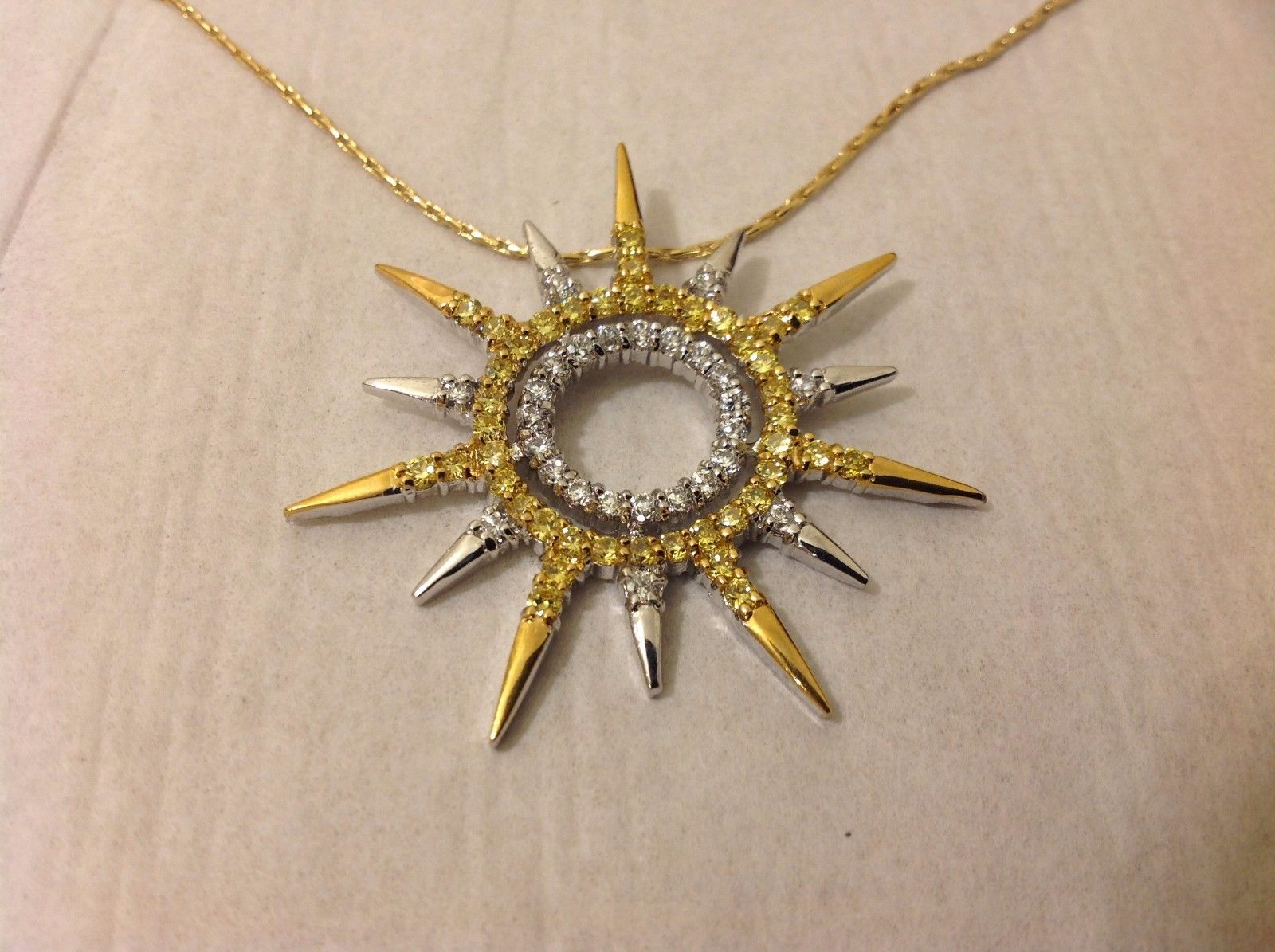 NEW Gold Toned Linked Necklace Solar Pendant with Swarovski Elements on Pendant