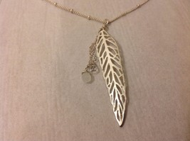 NEW Geranium Silver Toned Necklace Leaf Pendant Dangling Stones Lobster Clasp