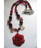 Gemstone Rose Handmade Necklace Valentines Day & Crystal & Glass Beads ... - $30.00