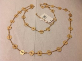 "Geranium Gold Toned Long Necklace 40"" Medallions NWT Adjustable Lobster Clasp"